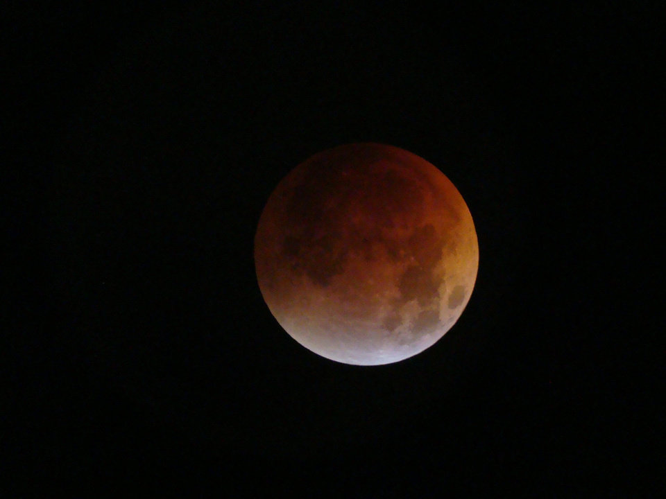 "THE TOTAL ECLIPSE, TAKEN WITH A SONY SLR DIGITAL CAMERA AND A 10"" DOBSONIAN TELESCOPE<br/><b>Community Photo By:</b> RAY CLEMENT<br/><b>Submitted By:</b> RAY, MIDWEST CITY"