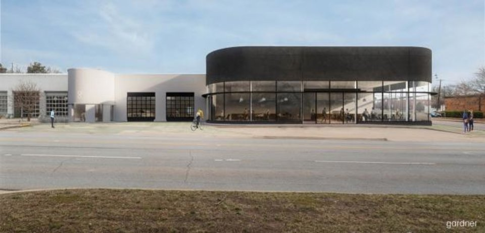 Photo -  The two-story showroom windows at the former Walter Allen Chrysler dealership will be restored as part of redevelopment starting this spring. [Rendering by Gardner Studio]