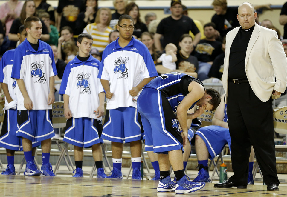 Coyle's Ryan Weathers reacts after fouling out during the Class B boys state championship game between Coyle and Arnett in the State Fair Arena at State Fair Park in Oklahoma City, Saturday, March 2, 2013. Photo by Bryan Terry, The Oklahoman