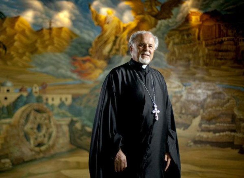 The Rev. Constantine Nasr poses for a photo inside St. Elijah Antiochian Orthodox Christian Church, 15000 N May in Oklahoma CIty. <strong>BRYAN TERRY - THE OKLAHOMAN</strong>