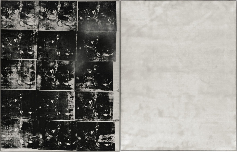 "FILE - This file photo provided by Sotheby's shows ""Silver Car Crash (Double Disaster)"" by Andy Warhol. The silkscreen print with multiple photos of the aftermath of a car which collided into a tree measures 8 feet by 13 feet and is part of Warhol's ""Death and Disaster"" series. The work, scheduled for auction at Sotheby's on Nov. 13, 2013, is expected to fetch as much as $80 million, which would establish a new record for the pop artist. (AP Photo/Sotheby's, File)"