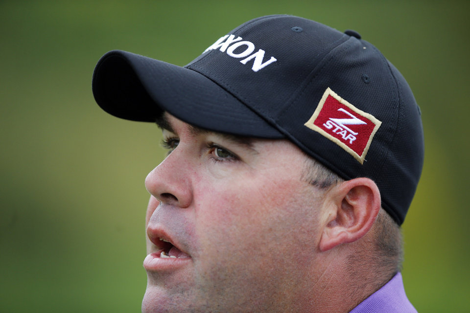 Photo - Kevin Stadler of the U.S. looks on during the last day of the French Open Golf tournament at Paris National course in Guyancourt, west of Paris, France, Sunday, July 6, 2014. (AP Photo/Francois Mori)