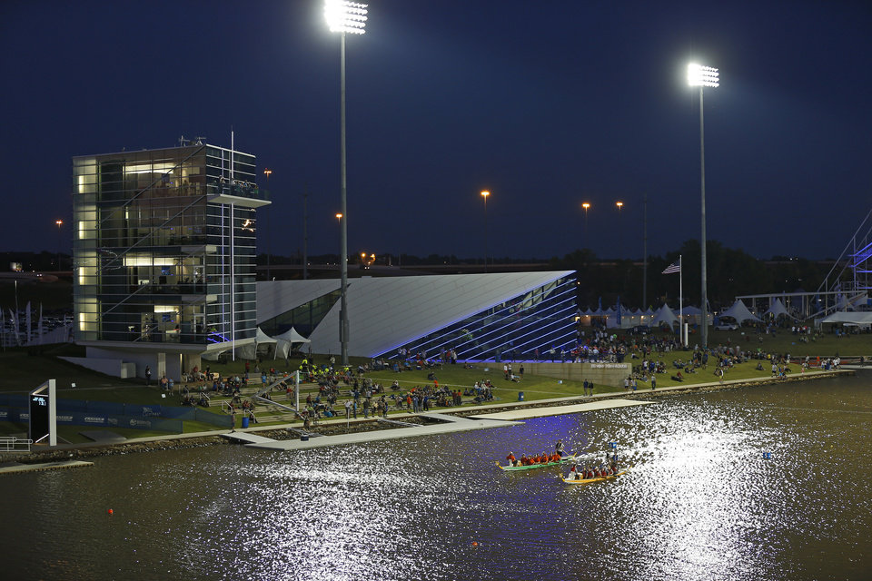 Boats race under the lights during the Oklahoma Regatta Festival on the Oklahoma River in Oklahoma City, Thursday, Oct. 3, 2013. Photo by Bryan Terry, The Oklahoman