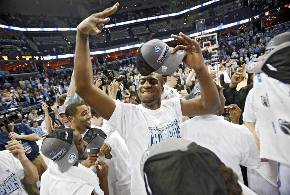 Photo - North Carolina's Mike Copeland celebrates after the 72-60 win over Oklahoma in the Elite Eight game of NCAA Men's Basketball Regional between the University of North Carolina and the University of Oklahoma at the FedEx Forum on Sunday, March 29, 2009, in Memphis, Tenn.