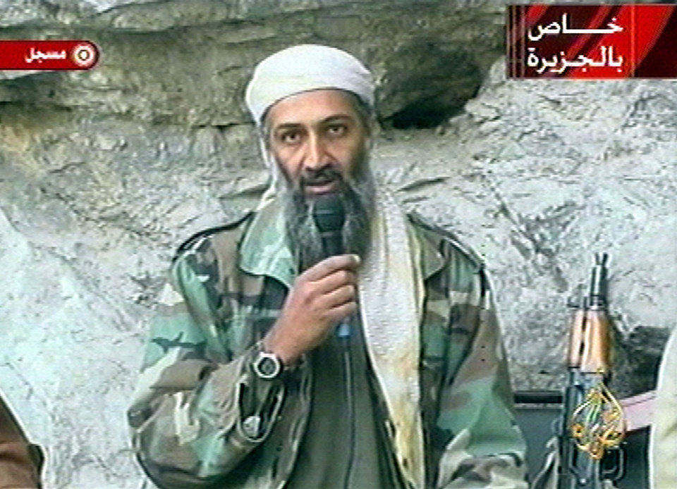 Photo - FILE - In this Oct. 7, 2011 file photo, Osama bin Laden is seen at an undisclosed location in this television image. A person familiar with developments said Sunday, May 1, 2011 that bin Laden is dead and the U.S. has the body. (AP Photo/Al Jazeera, File) ORG XMIT: NY214