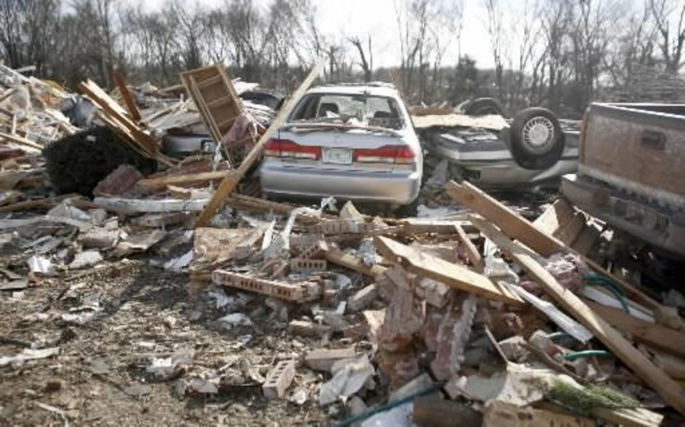 Photo - Tornado damage in the Majestic Hills neighborhood north of Ardmore, Thursday, Feb. 12, 2009, PHOTO BY SARAH PHIPPS