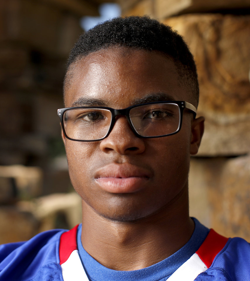 Photo - Bixby's Brennan Presley poses for a photo for The Oklahoman's Super 30 high school football player series at The Gathering Place in Tulsa, Okla., Thursday, June 20, 2019. [Bryan Terry/The Oklahoman]