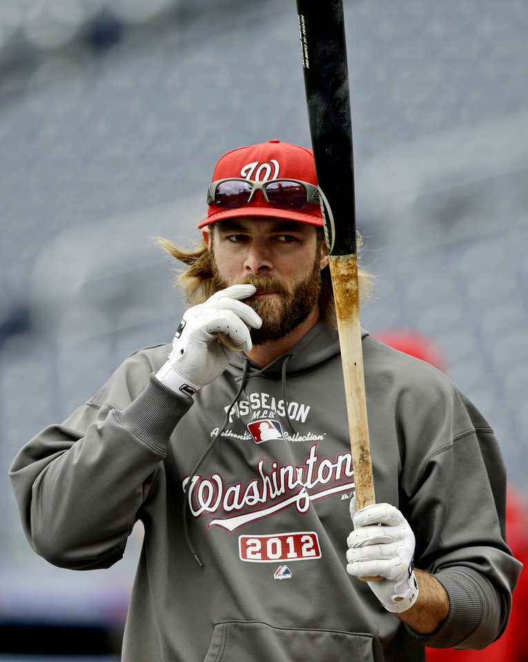 Washington Nationals' Jayson Werth pauses during batting practice at Nationals Park, Tuesday, Oct. 9, 2012, in Washington. The Nationals are scheduled to host the St. Louis Cardinals in Game 3 of the National League division series on Wednesday. The best-of-five games series is tied 1-1. (AP Photo/Alex Brandon)
