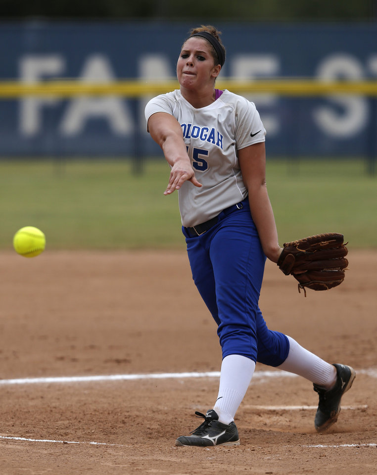 Oolagah's Hunter Jeffs (15) pitches during the 4A state softball semifinals game between Oolagah-Talala and Tuttle at ASA Hall of Fame Stadium in Oklahoma City, Okla., Friday, Oct. 12, 2012.  Photo by Garett Fisbeck, The Oklahoman