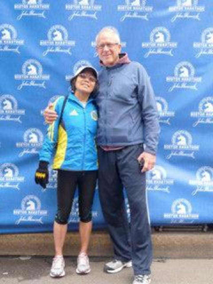 Photo - Chau and Michael at the finish line, the day before the Boston Marathon. Photo provided