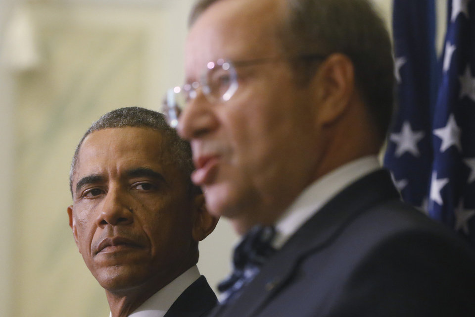 Photo - U.S. President Barack Obama and Estonian President Toomas Hendrik Ilves attend a news conference at the Bank of Estonia in Tallinn, Estonia, Wednesday, Sept. 3, 2014. Obama is in Estonia for a one day visit where he will meet with Baltic State leaders before heading to the NATO Summit in Wales. (AP Photo/Charles Dharapak)