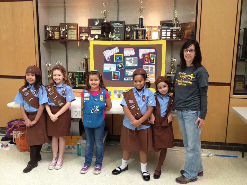 Members of Troop 240 of Shawnee, who were among the participants in the state robotics championships, included, from left, Callie Haney, Emma Orso, Alexis Canaday, Olivia Stevenson, Mia Perryman and their leader, Sue Ellen Fierichs.  Photo provided by the Girl Scouts of Western Oklahoma