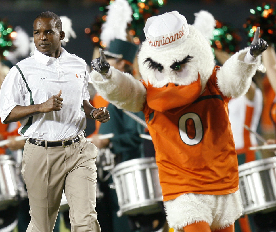 Miami coach Randy Shannon leads his team into the stadium before the college football game between the University of Oklahoma (OU) Sooners and the University of Miami (UM) Hurricanes at Land Shark Stadium in Miami Gardens, Florida, Saturday, October 3, 2009. Photo by Bryan Terry, The Oklahoman