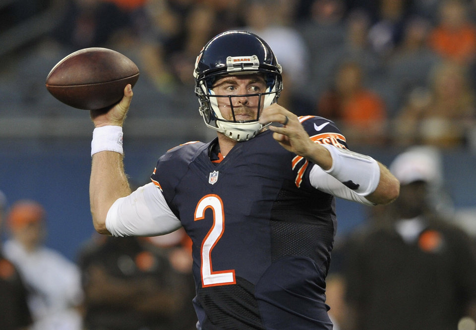 Photo - Chicago Bears quarterback Jordan Palmer (2) fires a pass against the Cleveland Browns during the first half of a preseason NFL football game on Thursday, Aug. 29, 2013, in Chicago. (AP Photo/Jim Prisching)