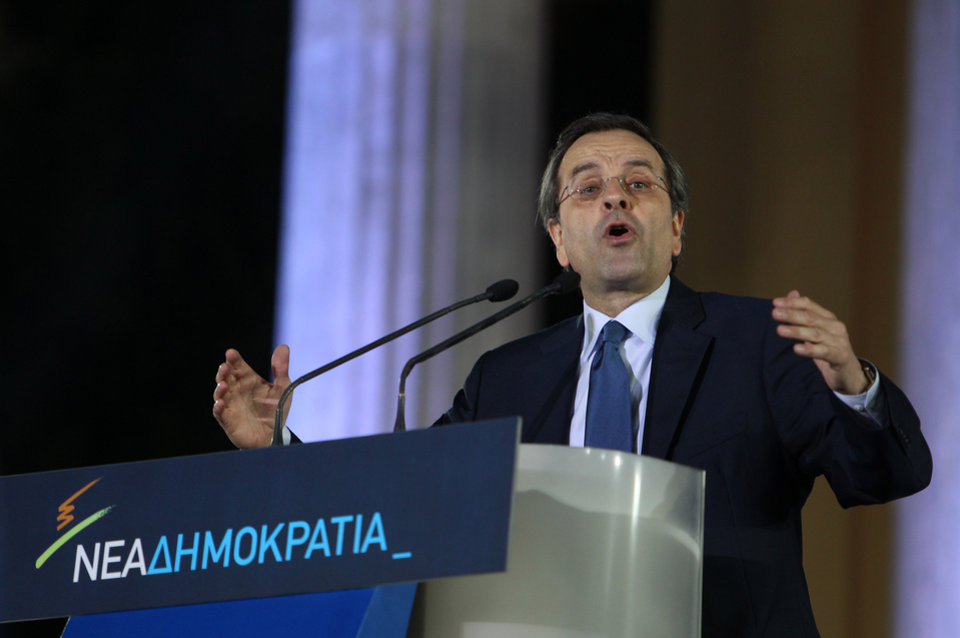 Photo -   Greece's conservative leader of New Democracy Antonis Samaras delivers a speech to his party members at the Zappeio conference hall in Athens, Thursday, May 3, 2012. Samaras who joined the majority Socialists in a coalition for the past six months, is leading in opinion polls but is facing a strong challenge from rightist splinter parties and a fascist party that have campaigned heavily on illegal immigration in the crisis-hit country. (AP Photo/Thanassis Stavrakis)