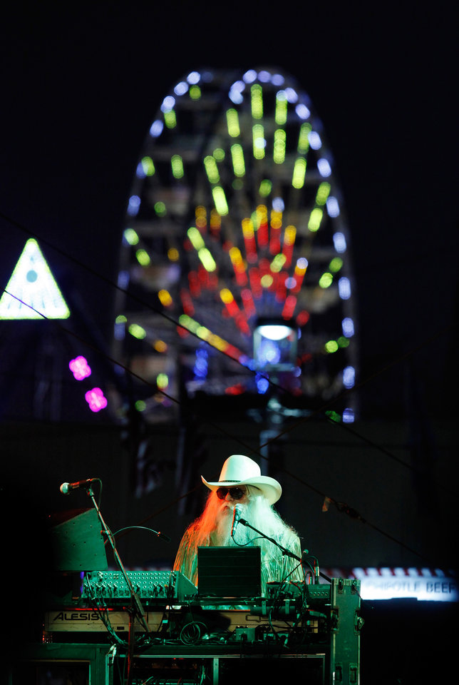 Photo -  Lawton native Leon Russell performed nearly 90 minutes of non-stop hits for an enthusiastic audience Sept. 16, 2011, at the Chesapeake Energy Stage at the Oklahoma State Fair. [Photo by Jim Beckel, The Oklahoman Archives]