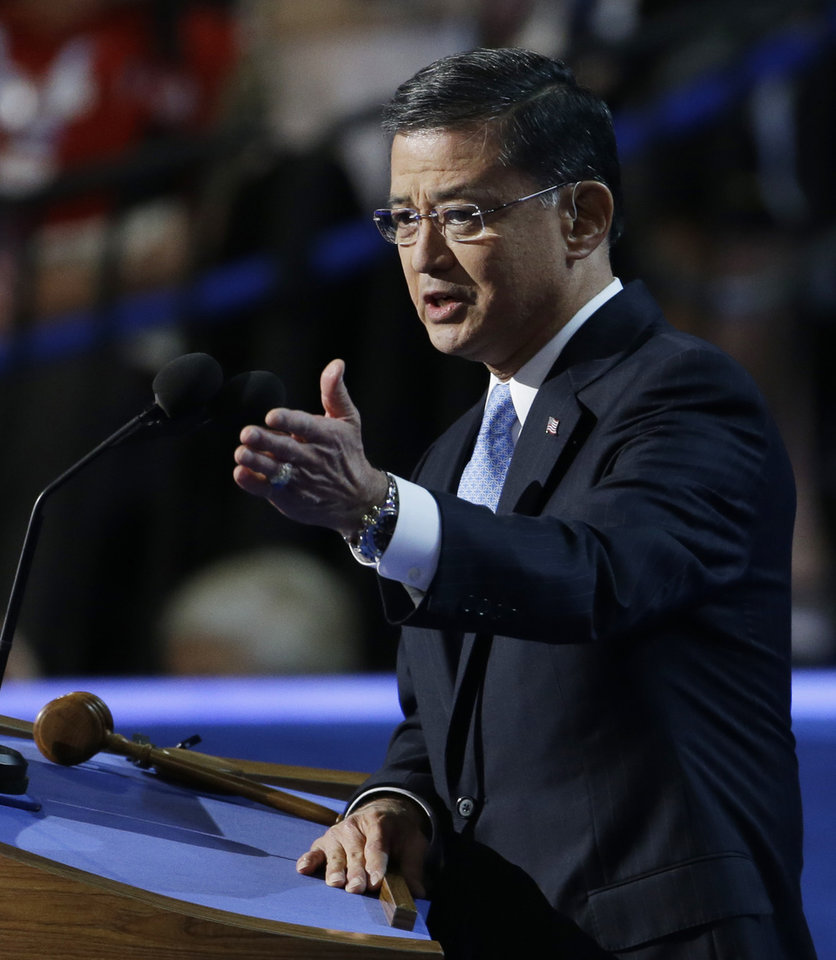 Photo - FILE-This Wednesday, Sept. 5, 2012 file photo shows General Eric Shinseki speaking to delegates at the Democratic National Convention in Charlotte, N.C. U.S. House Speaker John Boehner said the system for handling veterans' disability claims is broken and he wants the head of the Department of Veterans Affairs, Shinseki, to explain what is being done to fix it. (AP Photo/Lynne Sladky, File)