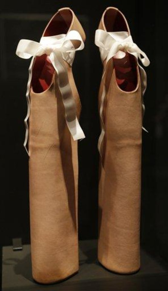 This Feb. 11, 2013 photo shows a pair of shoes designed by Noritake Tatehana for Lady Gaga displayed at the