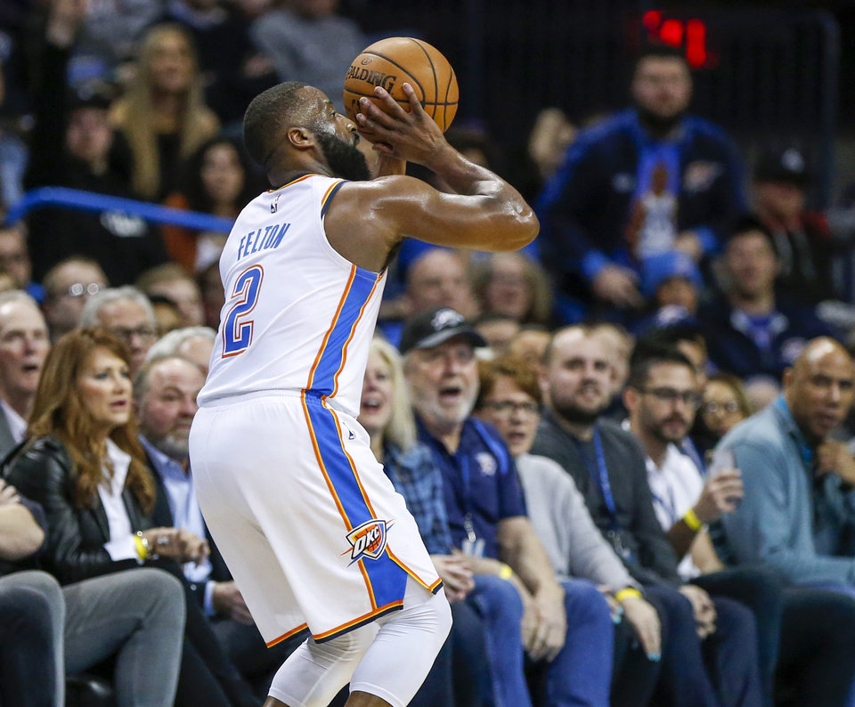 Photo - Oklahoma City's Raymond Felton (2) takes a three-point shot in the second quarter during an NBA basketball game between the Portland Trail Blazers and the Oklahoma City Thunder at Chesapeake Energy Arena in Oklahoma City, Monday, Feb. 11, 2019. Photo by Nate Billings, The Oklahoman