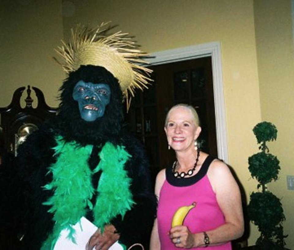 Photo - The gorilla (Dr. James Hochtritt) and Cheryl Hewett celebrate her birthday. PHOTO PROVIDED ORG XMIT: 0806121736138362