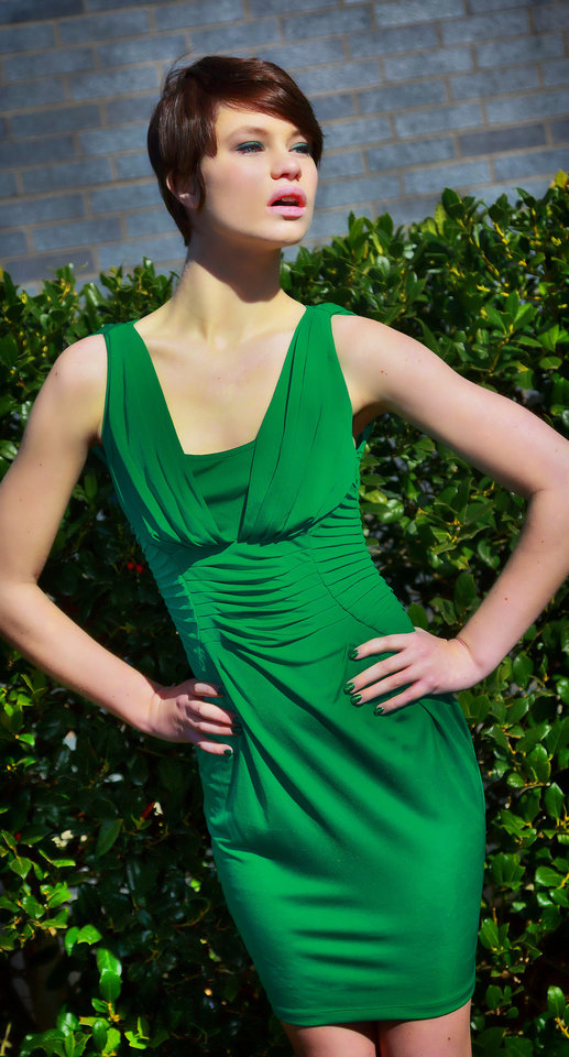 Catherine Malandrino sleeveless dress with pleated detail across waist and shoulders, available at Dillard's, Penn Square Mall. Model is Micayala. Photo by Chris Landsberger, The Oklahoman. <strong>CHRIS LANDSBERGER</strong>