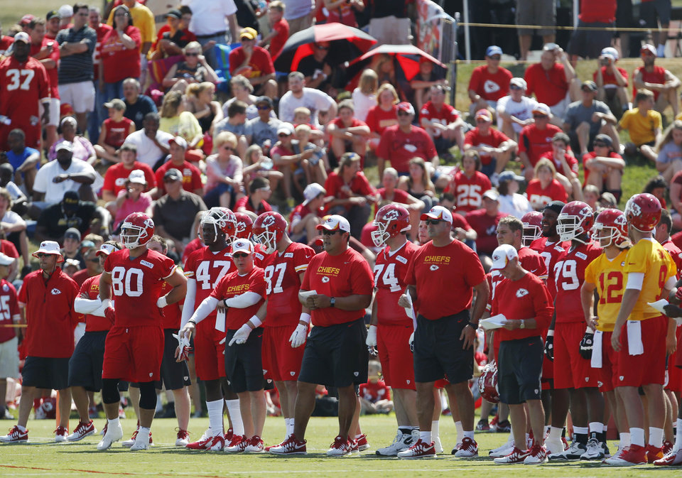 Kansas City Chiefs practice in front of a crowd during NFL football training camp in St. Joseph, Mo., Friday, July 26, 2013. Friday was the first day camp was open to the public. (AP Photo/Orlin Wagner)