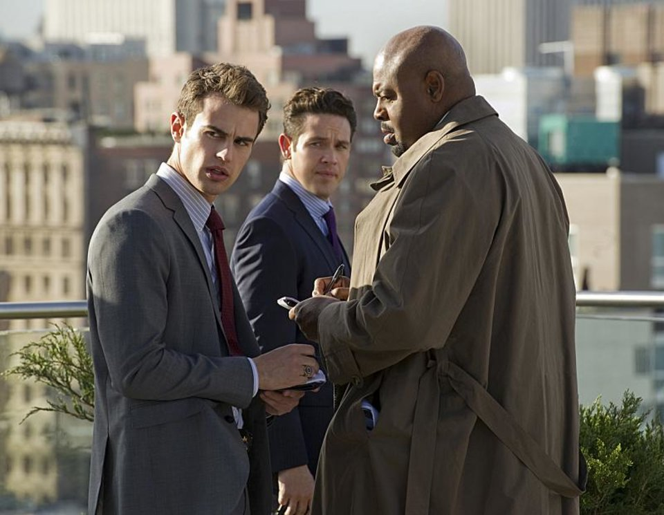The new midseason drama GOLDEN BOY premieres with a special preview on Tuesday, February 26, 10:00-11:00pmET/PT on CBS. The series is about the meteoric rise of an ambitious cop (Theo James, left) who becomes the youngest police commissioner in the history of New York City. The series explores the high personal and professional cost he pays to achieve it as he is mentored by his partner, an experienced veteran detective (Chi McBride, right). Also pictured center: series star Kevin Alejandro.  Photo: David M. Russell/CBS  �������©2012 CBS Broadcasting, Inc. All Rights Reserved