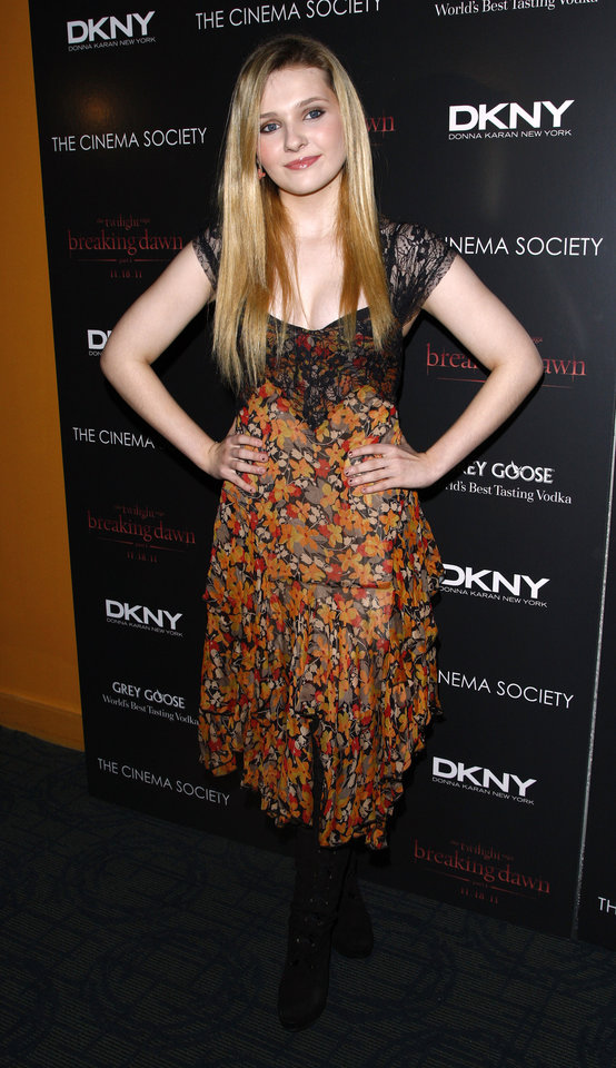 "Actress Abigail Breslin attends the Cinema Society premiere of ""The Twilight Saga: Breaking Dawn-Part 1"" on Wednesday, Nov. 16, 2011 in New York. (AP Photo/Peter Kramer) ORG XMIT: NYPK108"