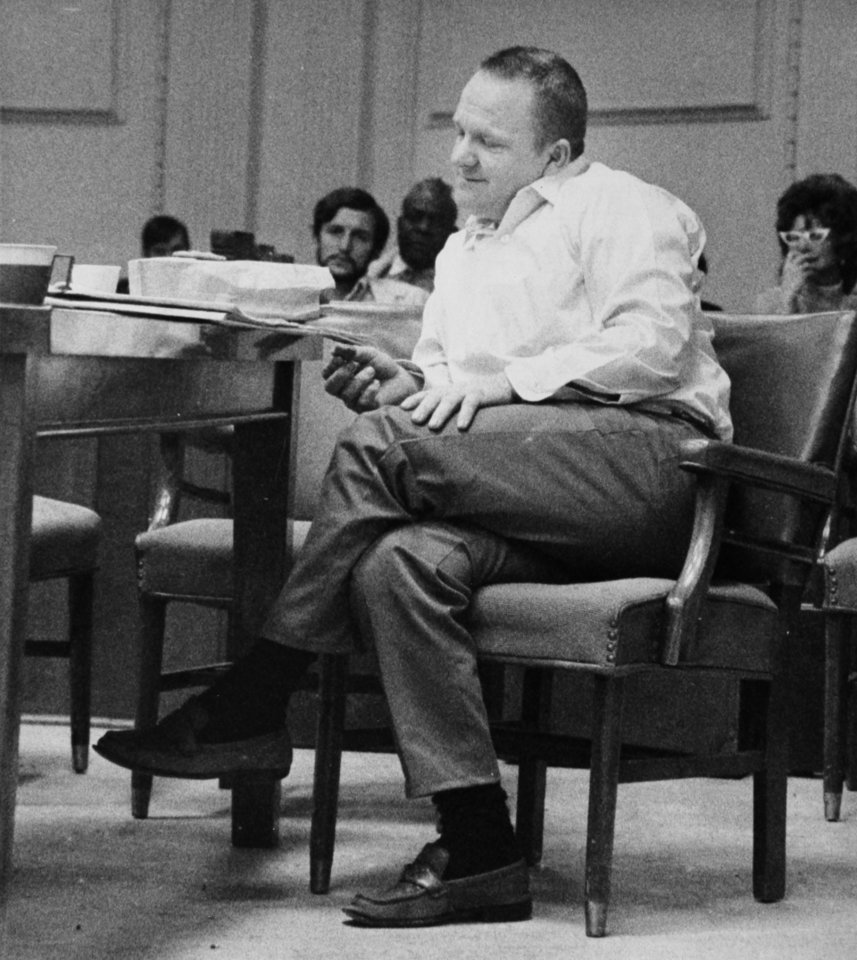 Rex Brinlee Jr. sits in a courtroom in 1971. Brinlee was convicted of murder in connection with the bombing death of a Bristow kindergarten teacher. While serving his sentence at the Oklahoma State Penitentiary, Brinlee escaped twice. Copy of a print from The Oklahoman Archive, Tuesday, Dec. 6, 2011. Photo by Doug Hoke, The Oklahoman