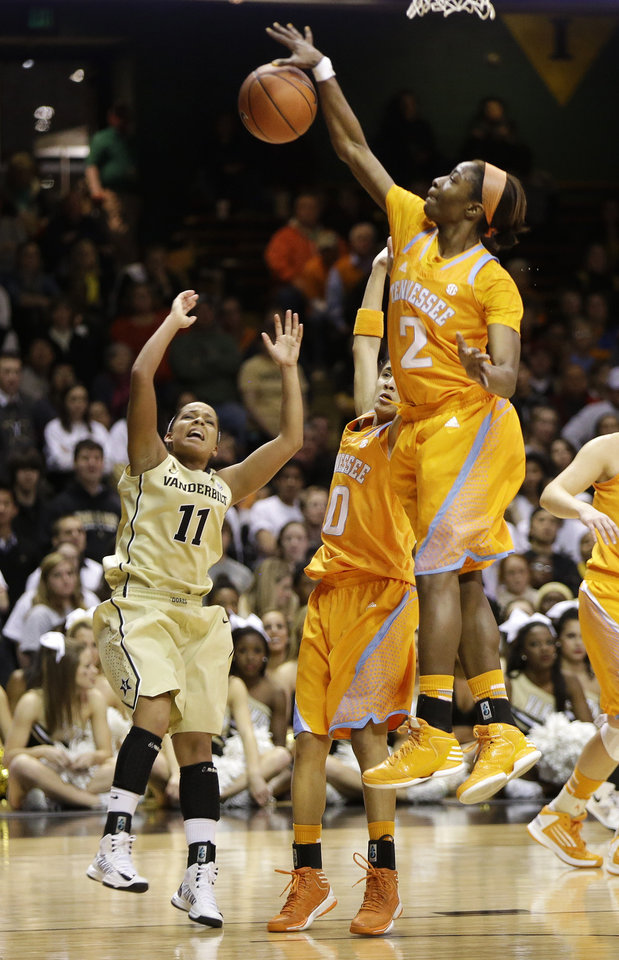 Tennessee forward Jasmine Jones (2) blocks a shot by Vanderbilt guard Jasmine Lister (11) in the first half of an NCAA basketball game on Thursday, Jan. 24, 2013, in Nashville, Tenn. (AP Photo/Mark Humphrey)