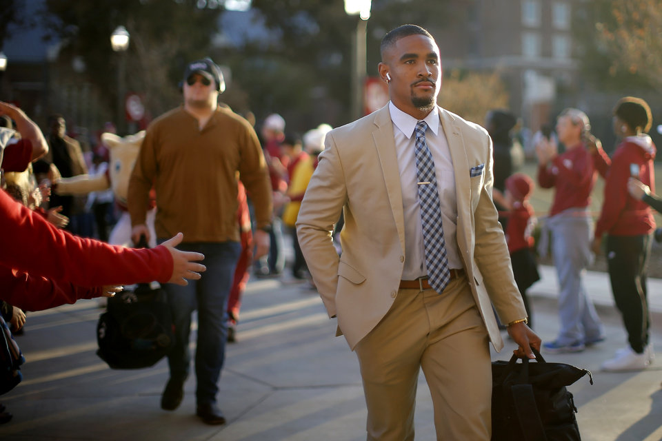 Photo - Oklahoma's Jalen Hurts arrives before during an NCAA football game between the University of Oklahoma Sooners (OU) and the Iowa State University Cyclones at Gaylord Family-Oklahoma Memorial Stadium in Norman, Okla., Saturday, Nov. 9, 2019. [Bryan Terry/The Oklahoman]