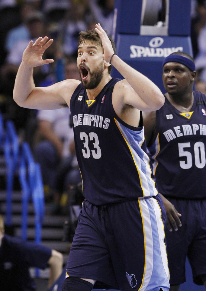 Photo - Memphis Grizzlies Marc Gasol reacts to a call against him during a play against the Oklahoma City Thunder in the second half of Game 5 of their Western Conference Semifinals NBA basketball playoff series in Oklahoma City, Wednesday, May 15, 2013.  Memphis won 88-84.  (AP Photo/Alonzo Adams)
