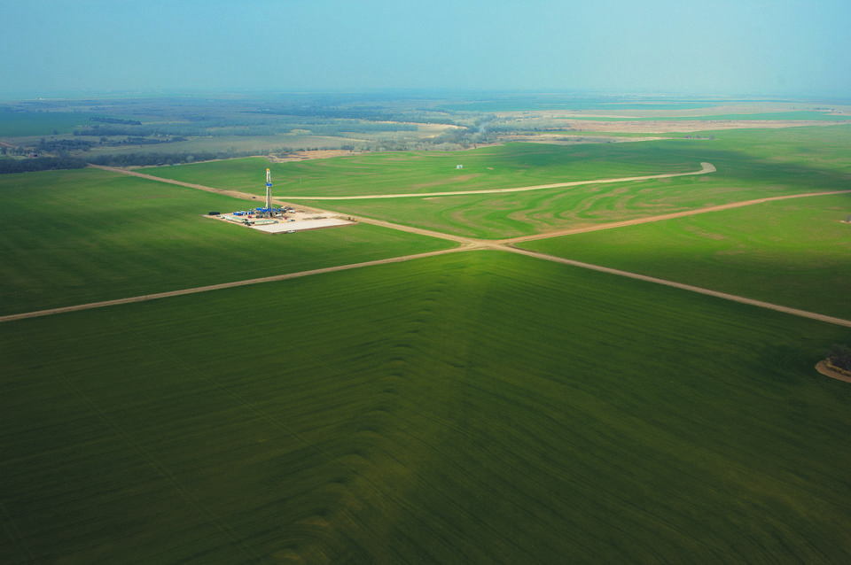 A SandRidge Energy Inc. drilling rig near Alva is seen from the air. <strong>John Jernigan - provided</strong>