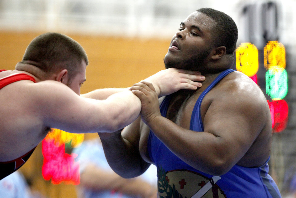 Evan McGee of Oklahoma wrestles Joe Scandland of Iowa at the Junior National Wrestling Duals at Oklahoma City University in Oklahoma City, Saturday, June 30, 2012. Photo by Sarah Phipps, The Oklahoman