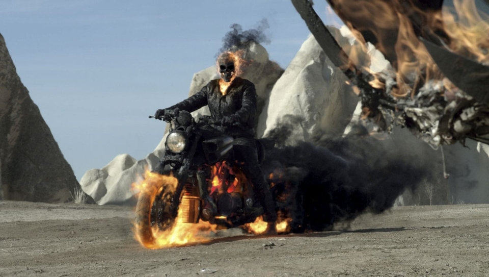 """The Ghost Rider in """"Ghost Rider: Spirit of Vengeance.""""  The flaming wheels of Ghost Rider's motorcycle bear resemblance to those drawn by Javier Saltares in the """"Ghost Rider"""" comics. Columbia Pictures. <strong>Courtesy of Columbia Pictures</strong>"""