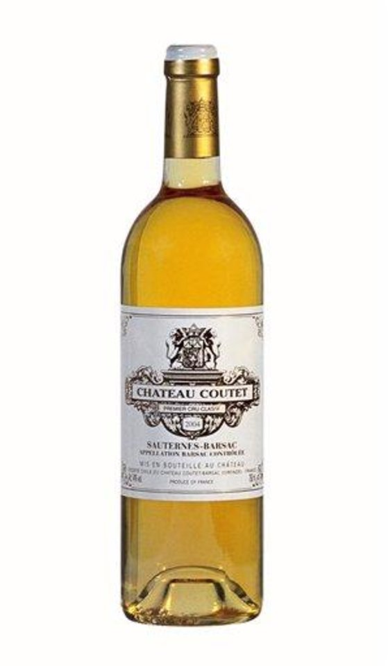 This undated publicity photo provided by Château Coutet shows a bottle of Château Coutet 2004, a grand cru sweet wine from the village of Barsac in Bordeaux's Sauternes region in France. (AP Photo/Château Coutet)