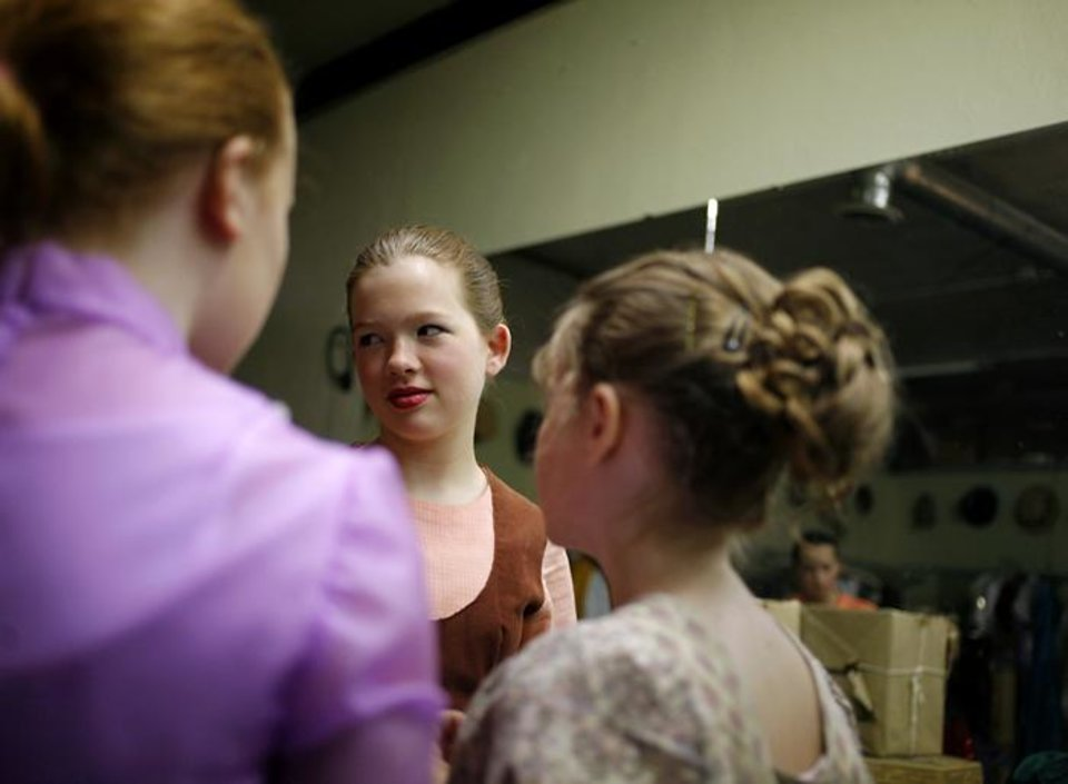 Photo -  Elizabeth Morris talks with other young actors before they perform Cinderella at Family Theater Warehouse in Oklahoma City on Sunday, June 7, 2009. Photo by John Clanton, The Oklahoman