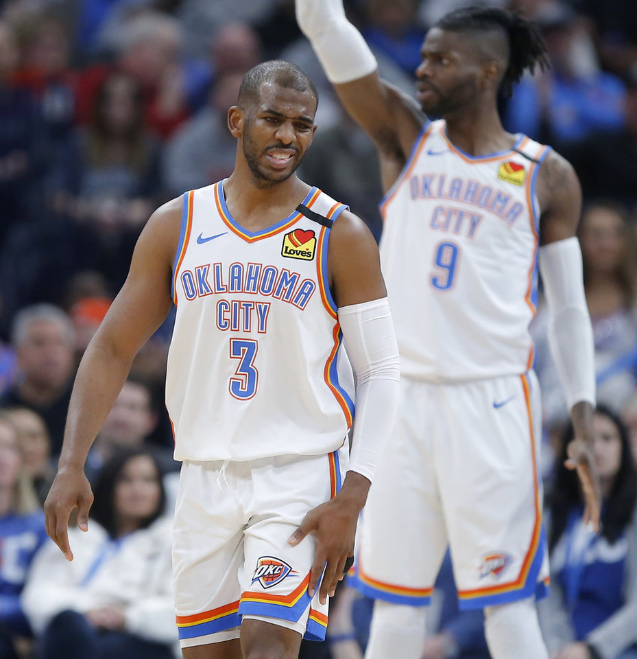 Photo - Oklahoma City's Chris Paul (3) rreacts after Nerlens Noel (9) fouled LaMarcus Aldridge (12) during an NBA basketball game between the Oklahoma City Thunder and the San Antonio Spurs at Chesapeake Energy Arena in Oklahoma City, Tuesday, Feb. 11, 2020. [Bryan Terry/The Oklahoman]