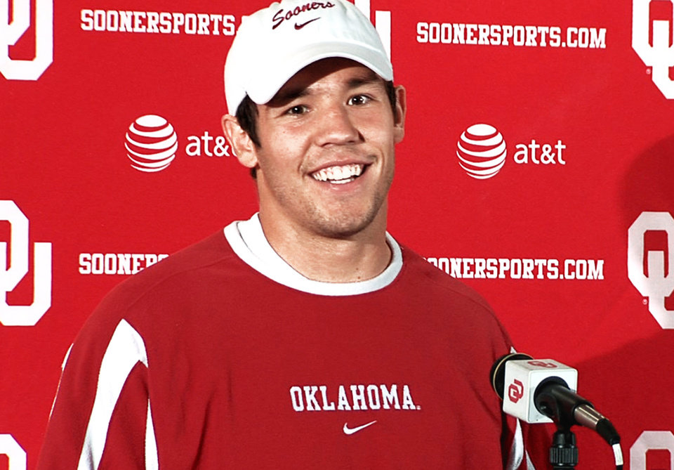 Photo - Sam Bradford spoke to the media on Tuesday, his first public appearance in more than a month. Photo by Damon Fontenot
