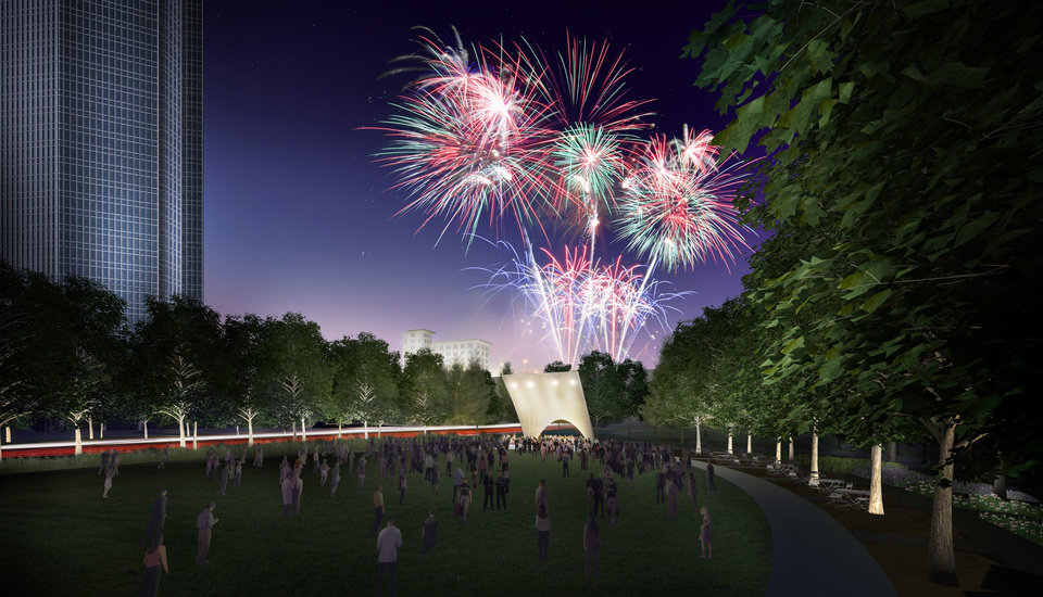 Photo - IMPROVE / IMPROVEMENTS / MAKEOVER: Fireworks explode over an amphitheater and grand lawn to be added to the Myriad Gardens with a new Devon tower shown to the left. RENDERING BY THE OFFICE OF JAMES BURNETT      ORG XMIT: 0910082231350465