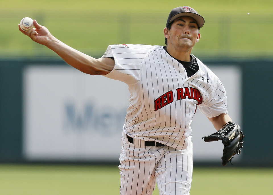 Photo - Dominic Moreno (40) pitches for Texas Tech during an NCAA baseball game between Oklahoma and Texas Tech in the Big 12 Baseball Championship tournament at the Chickasaw Bricktown Ballpark in Oklahoma City, Friday, May 24, 2013. OU won 8-0. Photo by Nate Billings, The Oklahoman