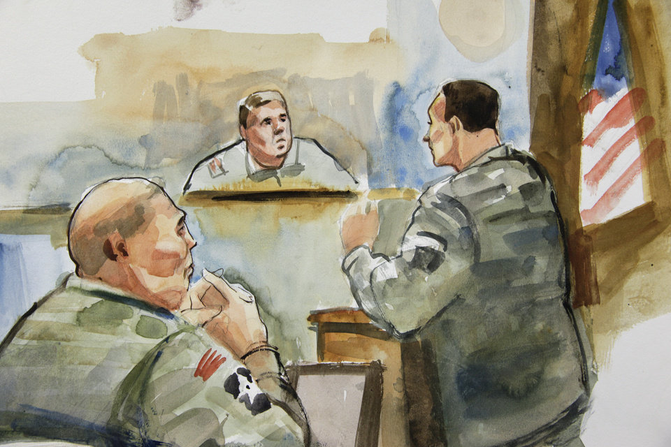 Photo -   In this detail from a courtroom sketch, U.S. Army Staff Sgt. Robert Bales, left, listens to military prosecutor Maj. Rob Stelle, right, make his closing statements to Investigating Officer Col. Lee Deneke, second from upper right, Tuesday, Nov. 13, 2012 on the final day of a preliminary hearing for Bales at Joint Base Lewis McChord in Washington state. Bales is accused of 16 counts of premeditated murder and six counts of attempted murder for a pre-dawn attack on two villages in Kandahar Province in Afghanistan in March, 2012. (AP Photo/Lois Silver) TV OUT