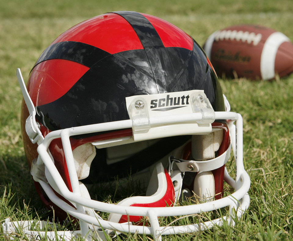 Football helmet. Photo by Jim Beckel, The Oklahoman Archive
