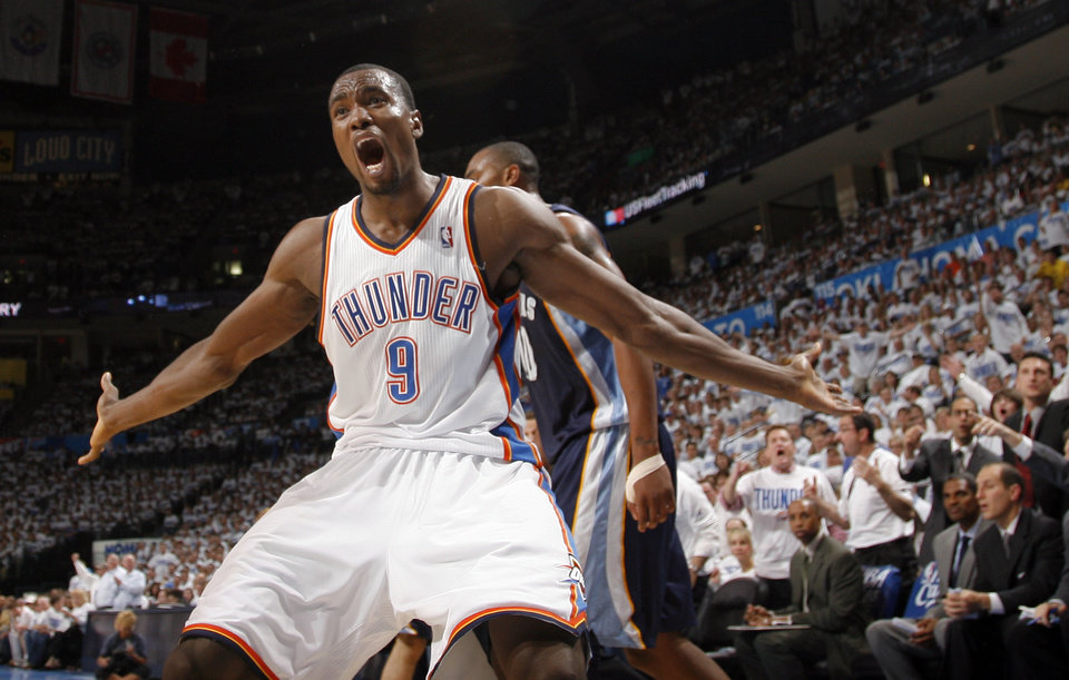 Oklahoma City's Serge Ibaka (9) reacts to a call during game five of the Western Conference semifinals between the Memphis Grizzlies and the Oklahoma City Thunder in the NBA basketball playoffs at Oklahoma City Arena in Oklahoma City, Wednesday, May 11, 2011. Photo by Sarah Phipps, The Oklahoman