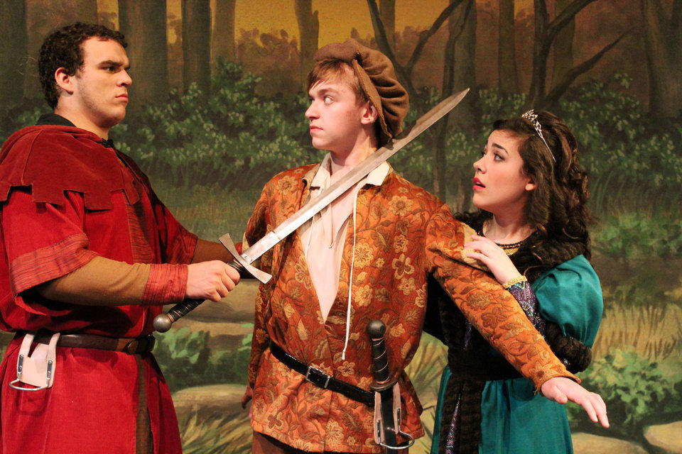 "Putnam City West High School's production of ""Robin Hood: The Courtship of Allan A'Dale"" features Ben Holley as Little John, Joah Enevoldsen as Allan A'Dale and Kimberly Thomas as Lady Genevieve. Photos Provided"