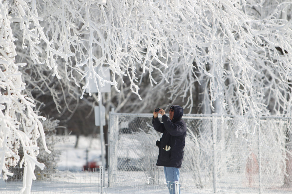 Photo - A tourist takes a photograph of the winter wonderland created by freezing mist from Niagara Falls in Niagara Falls State Park, Niagara Falls, N.Y. on Thursday, Jan. 9, 2014.  Niagara Falls hasn't frozen over, but it has become an icy spectacle, thanks to a blast of arctic wind and cold that blew around and froze the mist on surfaces and landscaping. Despite the urban legends, Niagara Falls doesn't freeze solid in the winter, tourism officials say.  A section of the American Falls, one of three waterfalls that make up the natural attraction, has frozen. The Niagara River rapids and larger Horseshoe Falls continue to flow unimpeded. (AP Photo/The Buffalo News, Sharon Cantillon)  MANDATORY CREDIT