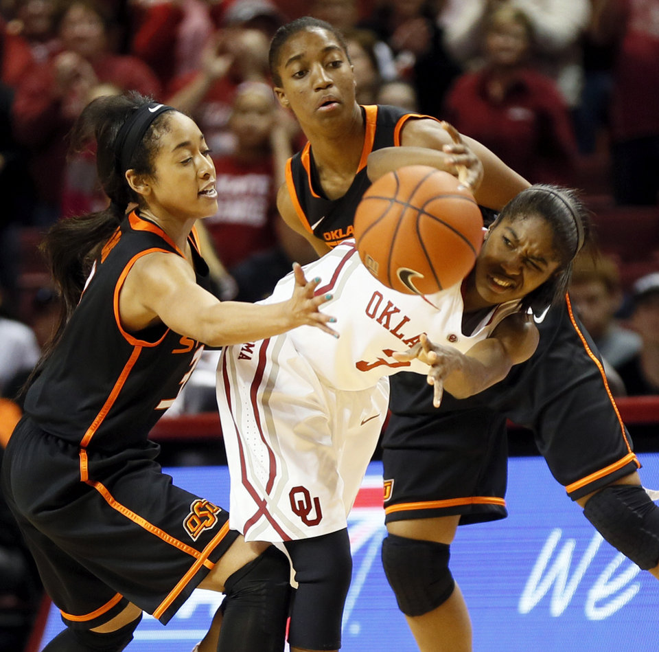 Photo - Oklahoma's Aaryn Ellenberg (3) passes the ball away from Oklahoma State's Tiffany Bias (3), left, and Brittany Atkins (1) late in the second half during a women's Bedlam college basketball game between the Oklahoma State University Cowgirls (OSU) and the University of Oklahoma Sooners (OU) at Lloyd Noble Center in Norman, Okla., Saturday, Feb. 1, 2014. OU won, 81-74. Photo by Nate Billings, The Oklahoman
