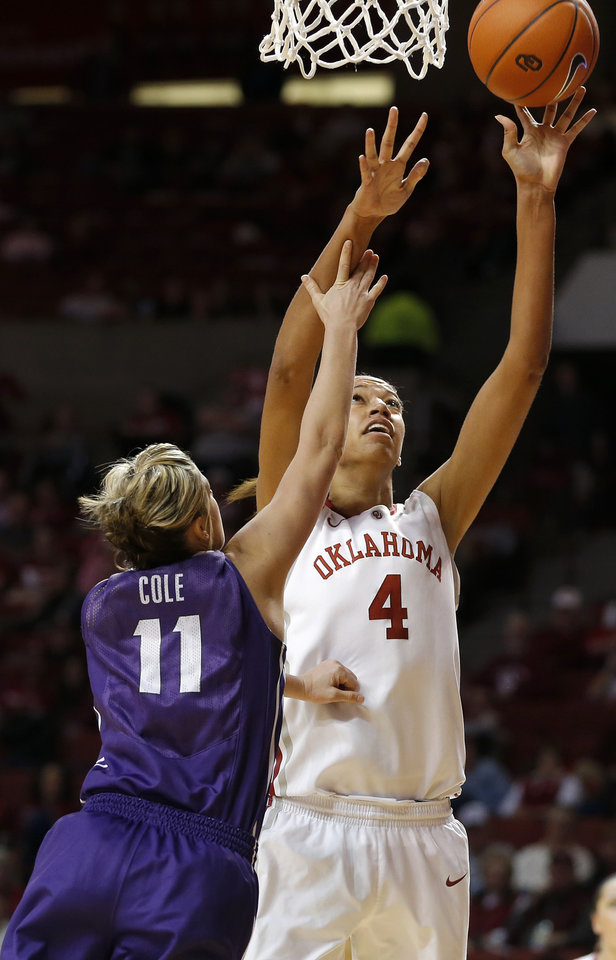 /you4n/ shoots a basket beside TCU's Kamy Cole (11) during a women's college basketball game between the University of Oklahoma and TCU at the Llyod Noble Center in Norman, Okla., Wednesday, Jan. 30, 2013. Oklahoma won 74-53. Photo by Bryan Terry, The Oklahoman