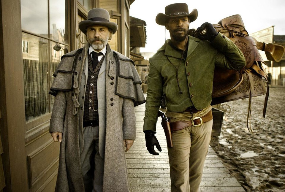 Christoph Waltz, left, and Jamie Foxx star in Quentin Tarantino\'s