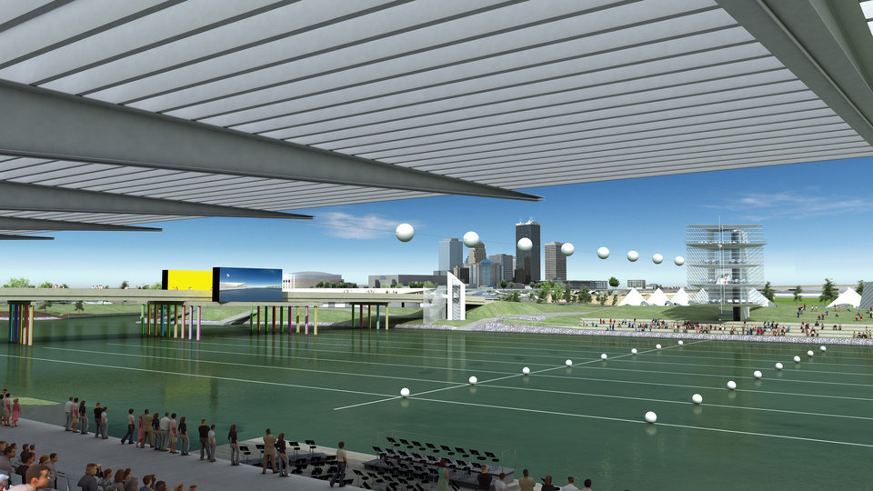 Photo - An artist's drawing gives a spectator's view from a proposed grandstand along the Oklahoma River. MAPS 3 includes $60 million for river improvements.Maps 3 River Renderings, Monday, November 23, 2009.  ORG XMIT: KOD